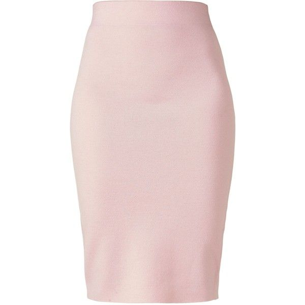 Winser London Milano Wool Skirt found on Polyvore featuring skirts, pink, women, midi pencil skirt, pencil skirt, calf length pencil skirt, mid calf skirts and pink pencil skirt