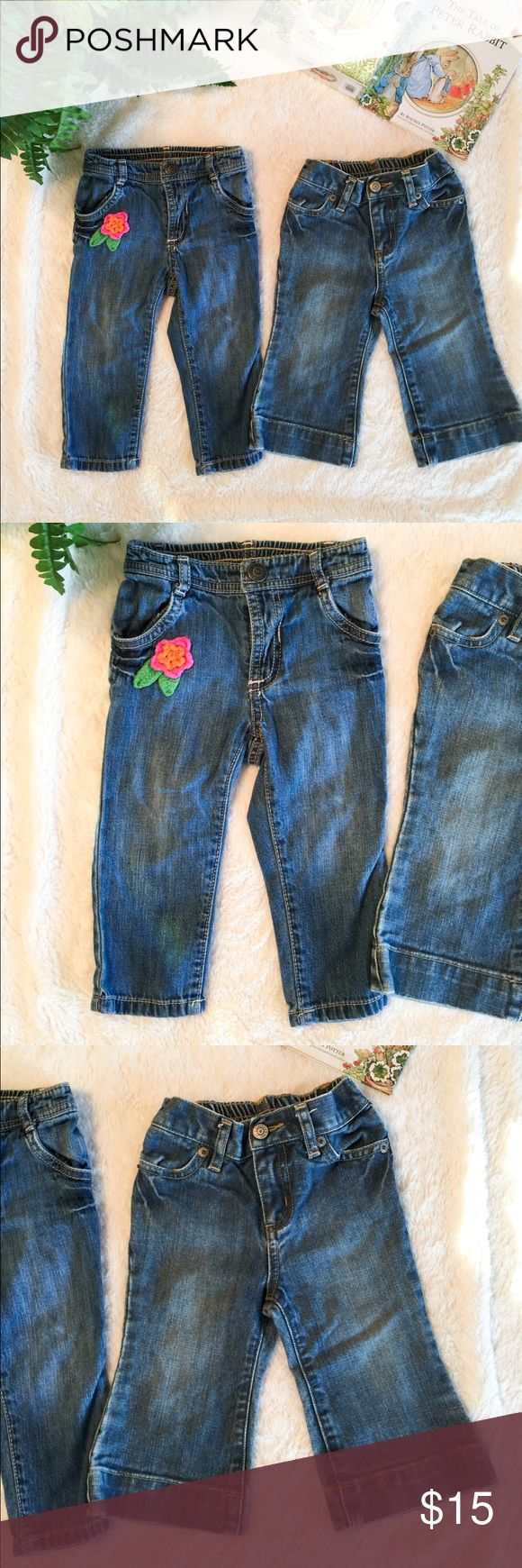 Bundle Old Navy | Baby Gap Jeans 6-12M Bundle One pair of Old Navy jeans with a crochet flower and one pair of Baby Gap jeans with flare. Both so cute! Old navy jeans can be rolled if necessary. Prices are already low- bundle for extra savings! 🌷👍🏼 Baby Gap Bottoms Jeans