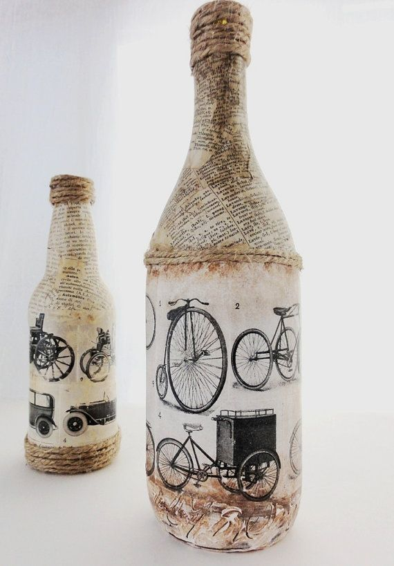 Set of Vintage Recycled Bottles, Antique Bicycles and Cars