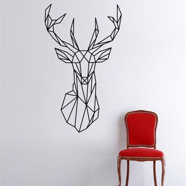 2016 Novo Design Geométrico Da Cabeça Dos Cervos Adesivos de Parede Geometria Série Animal decalques 3D Arte Da Parede do Vinil Personalizado Home Decor Tamanho 51x86 cm