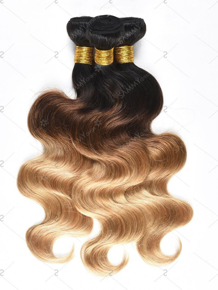 Fashionivo3Pcs Ombre Body Wave Human Hair Wefts – Multi – 24INCH*24INCH*24INCH