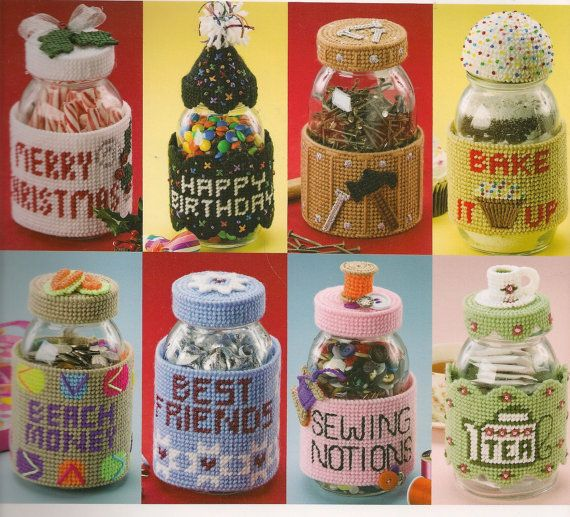 Jar Wraps Plastic Canvas Book. $8.99, via Etsy.