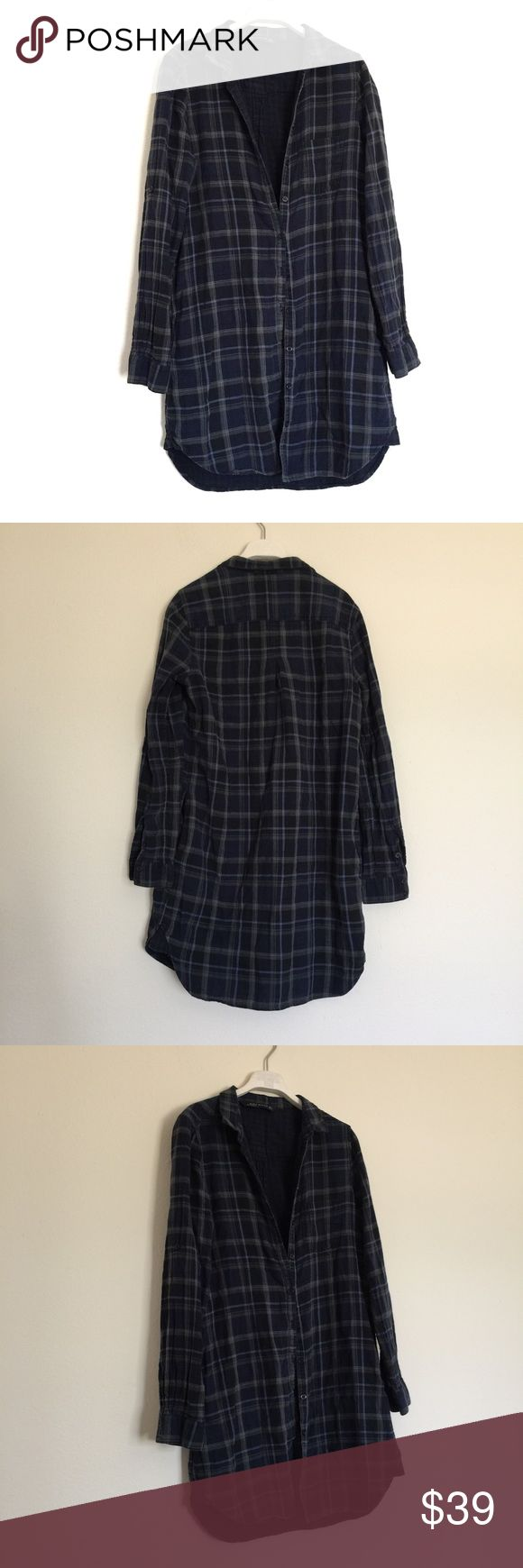 "Zara blue navy plaid long flannel shirt dress S Great condition. Flannel long sleeve shirt dress with plaid print. Side pockets and button down front with collar. Roll up sleeves with button cuffs. Pit to pit 19"", length 33"". 100% cotton. Zara Dresses Long Sleeve"