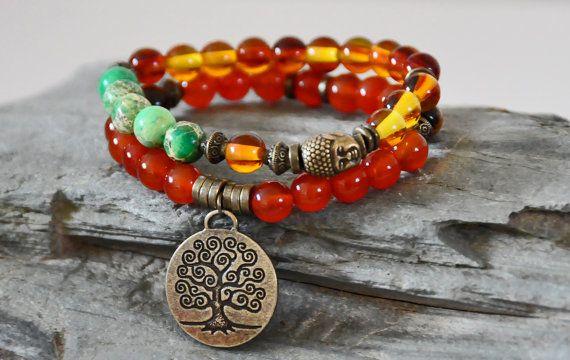 Set of 2,Tree of Life bracelet,buddha bracelet,carnelian gemstone bracelet,double bracelet,protection bracelet,amber bracelet, mala bracelet