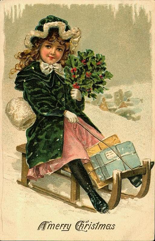 Young Victorian Girl Sledding Victorian Christmas Card