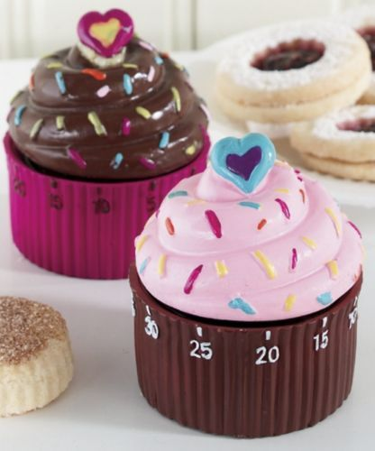 Cupcake kitchen timer! This is SO CUTE!!! I want the pink one! Really is cute won't go with my wine theme but I don't care lol
