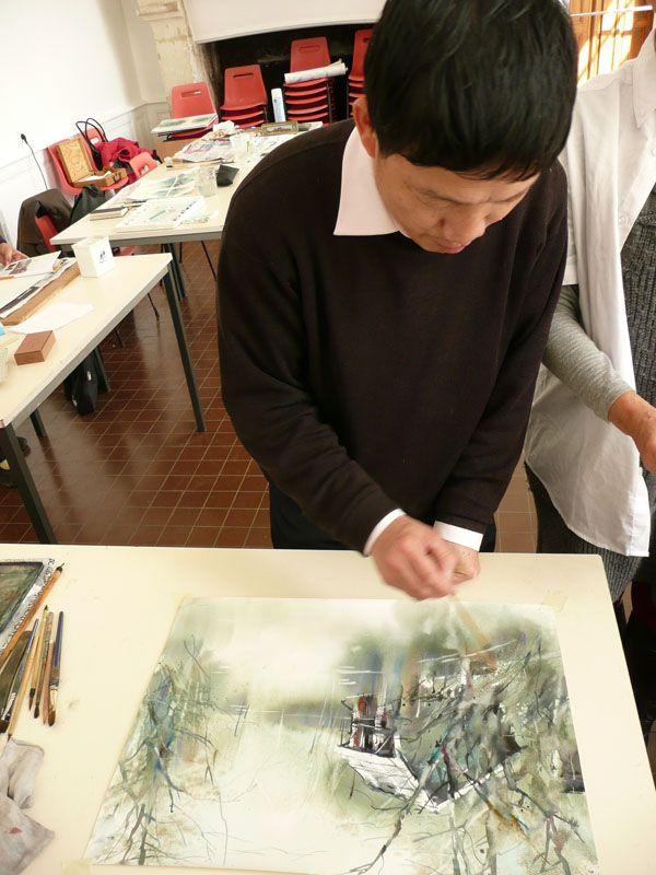 Les démonstration d'aquarelle de Cao Bei An sont spectaculaires