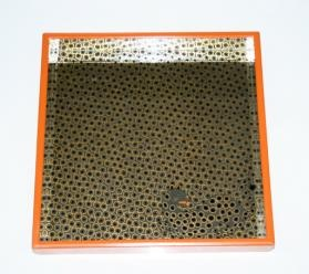 Waylande Gregory - Hand made  Square Glass Tray - Logo Series Leopard Mirror with orange edge