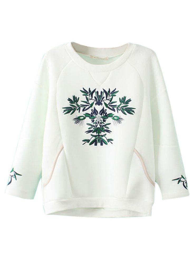 Sudadera Con Bordado Floral En Blanco