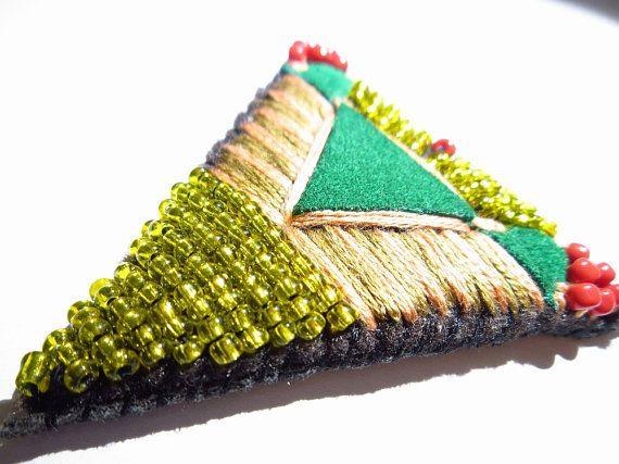 Aztec leather brooch folk beaded leather brooch by HandmadebyIru, €15.00