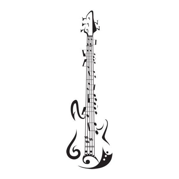 Guitar Tattoo ❤ liked on Polyvore featuring music