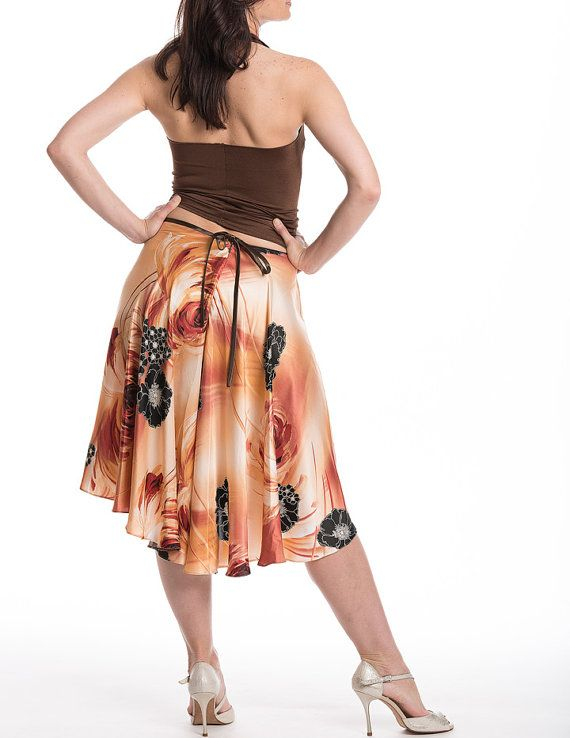 Tango skirt with slit dance skirt satin like by TheGiftofDance