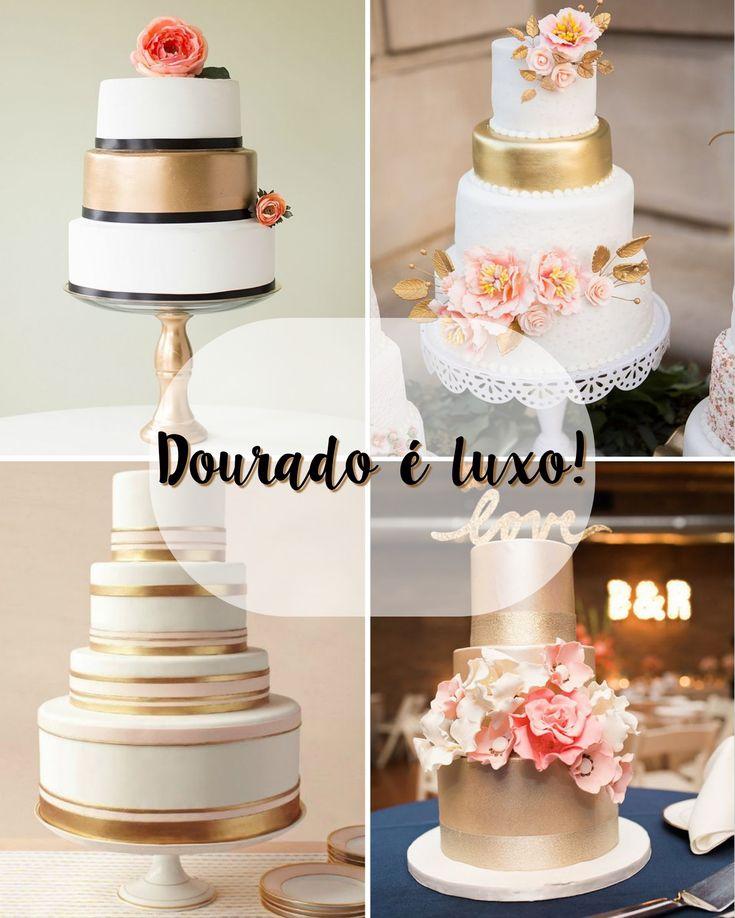 bolo de casamento com detalhes em dourado