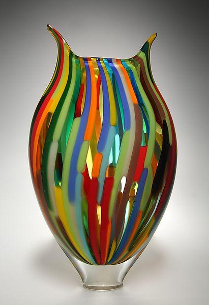 """Mixed Cane Foglio""  Art Glass Vessel    Created by David Patchen: Glass Art, Art Glass Vessel, Murano Glass, Glass, Glass Vase, Artist, Beautiful Vase"