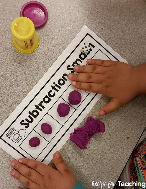 FREE Subtraction Smash mats! Students use playdough to subtract. Includes three versions of the Subtraction Smash mats to differentiate!