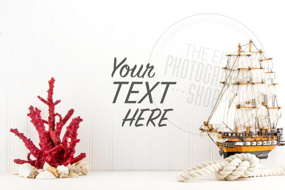 Styled Stock Photography / Beach, Seashells, Ocean, Coral, Rope, Sail Boat, Ship, Nautical / header hero image / product background / BN009