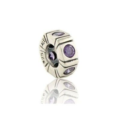 Pandora Birthstone Charms Gems and Sterling Silver Purple Wheel