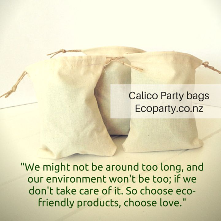 These small calico bags measure 11cm x 14cm with a double drawstring tie, perfect for treat bags and can be coloured or stamped on too. Made in a NZ home environment. http://www.ecoparty.co.nz/product/calico-party-bags.html