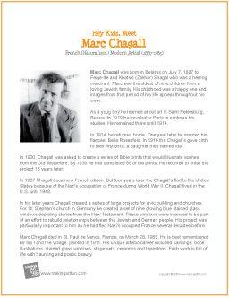 Hey Kids, Meet Marc Chagall | Printable Biography - http://makingartfun.com/htm/f-maf-printit/chagall-printit-biography.htm