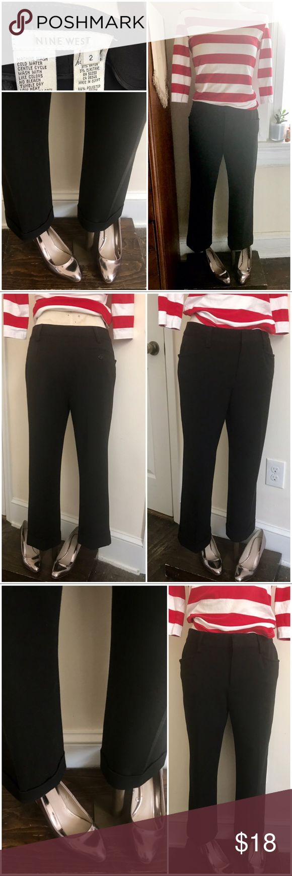 "Black cigarette pants EUC- vintage style cropped cuffed black cigarette pants 2 real front pockets, one back button pocket Marked size 2 - but they're pretty roomy on me and fit more like a 4  Model stands approx 5'3""  Mid rise  Brand Nine West Nine West Pants Ankle & Cropped"