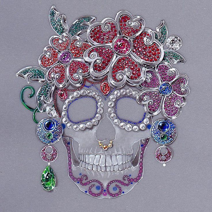 Rosita Querida#santamuerte#mexicanskull#mexicanstyle#diadelosmuertos#flores#cultura#origen#precious#luxury#art#inspiration#halloween#jewelry#highjewelry#jewelryrendering#jewelryart#design#gouachepainting#handpainted#illustration#personalwork#folklore#gemstone#artislife#jewelrydesign#skull#crane#creation