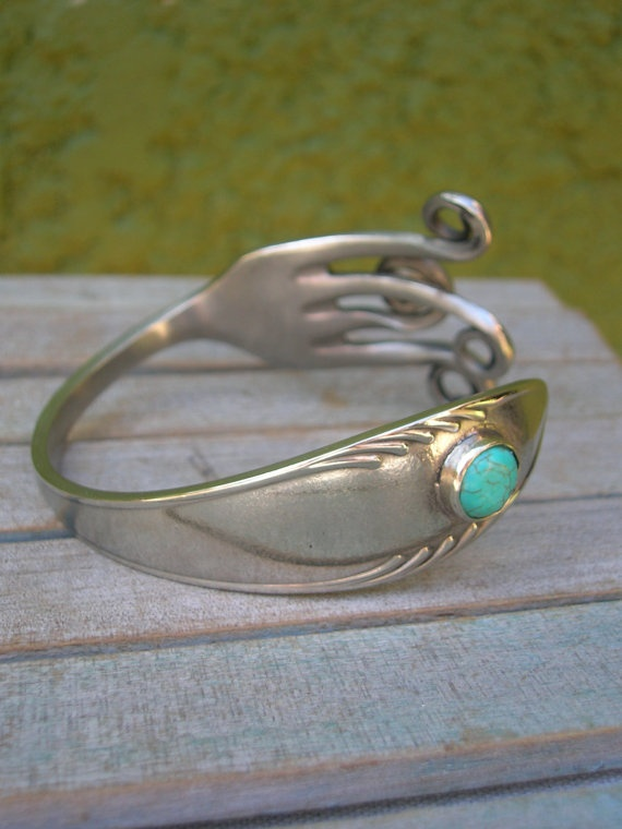 Fork bracelet w/ blue Turquoise Upcycled jewelry by mamaJoia, $38.00