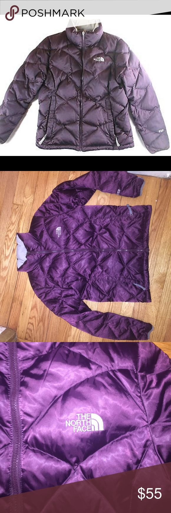 North face 550 goose feather coat Size medium, overall good condition. Minor pilling on the bottom of the sleeves hence the price. More of a deep purple, wine-like color. The colors make it look more purple. Make me an offer! The North Face Jackets & Coats
