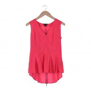 Pink V-Neck Asymmetric Sleeveless