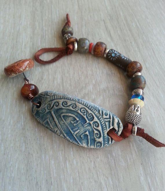 Yoga Mind  mixed media bracelet with ceramic  by lejonklou on Etsy, $40.00