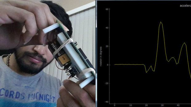 Picture of Tilt angle visualization with Edison, accelerometer and Python