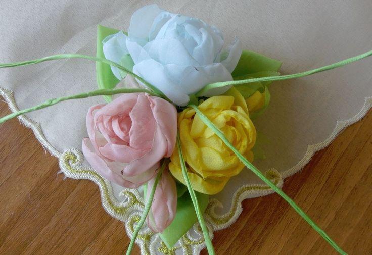 Букетик роз из ткани. Часть1