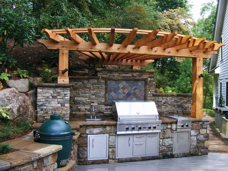 Best 25 curved pergola ideas on pinterest fire pit for Small backyard outdoor kitchen