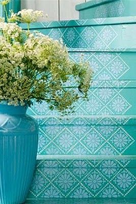 No stair runner? how about these turquoise stenciled stairs instead- love!  #diy #home #decor