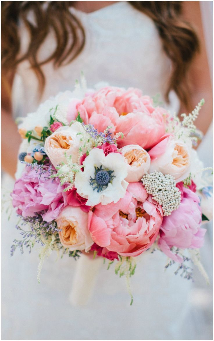 Colorful pastel wedding bouquet, pink and peach florals, peonies // Zelo Photography