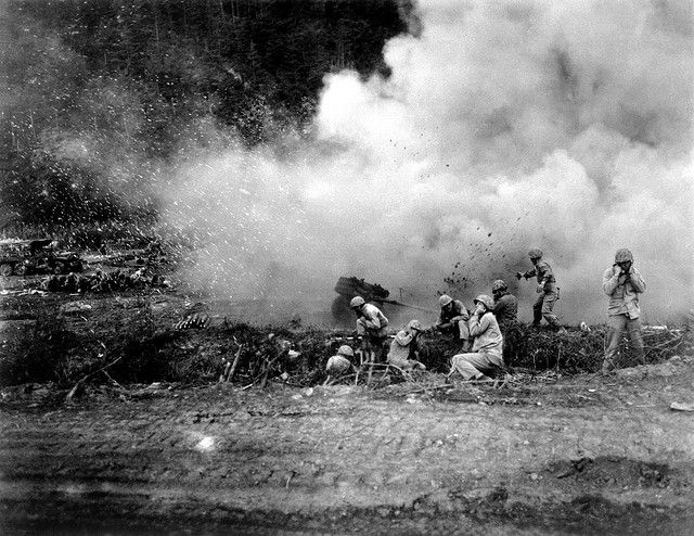 The Rockets Red Glare - U.S. Marines launch a 4.5 rocket barrage against the Chinese Communists in the Korean fighting. Ca. 1951.