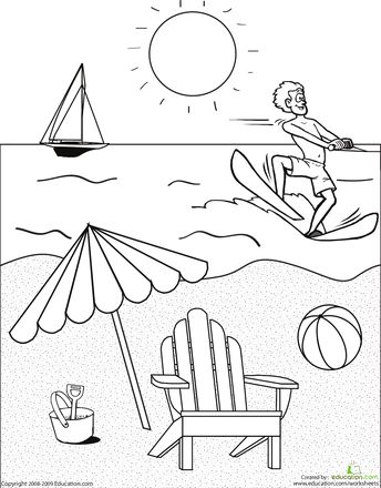 Color the Beach Scene prints
