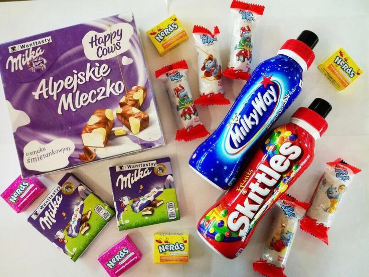 Конфетки nerds mini 49p Milka Milkinis 75p Птичье молоко Milka 390p Напиток Skittles Milky Way 299p Бегемотик Kinder 59p #wanttasty