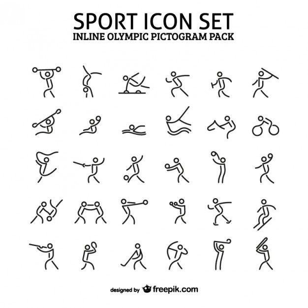 Esporte em linha pacote de ícone pictograma Vetor grátis