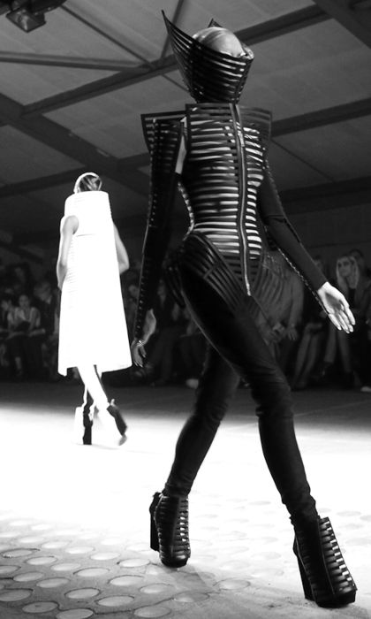 Restriction - caged jacket and headpiece with exaggerated shape; dark fashion armour // Gareth Pugh