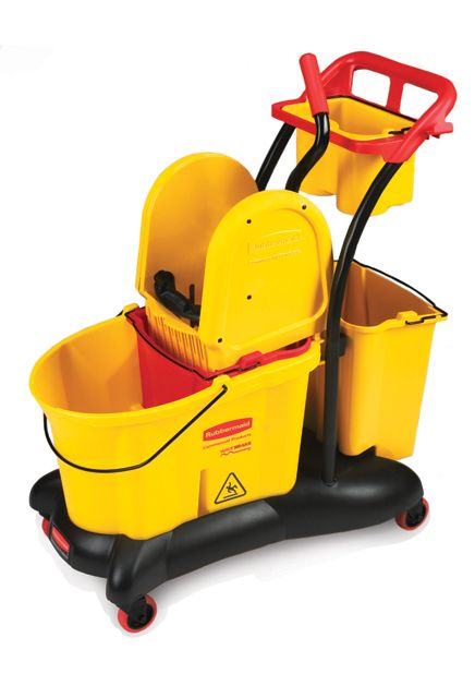 Mobile mopping Trolley Down Press: Mobile cart with down press mopping bucket and wringer including 2 additional dirty water buckets and 1 maid caddy.