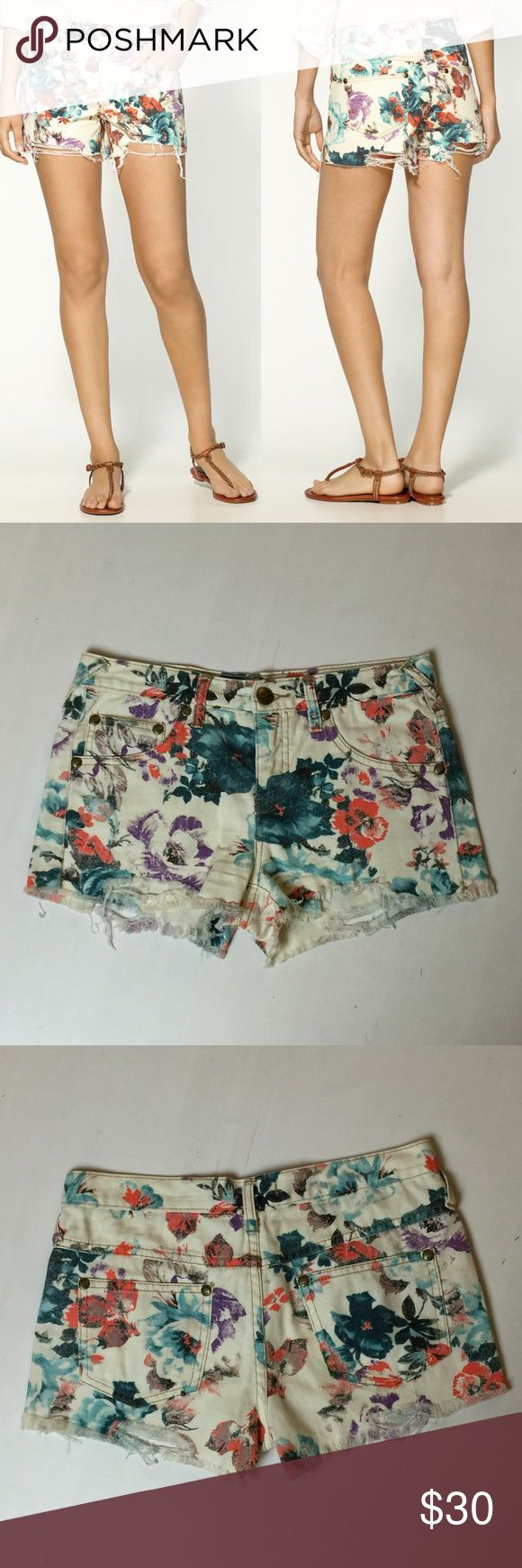 Free People Floral Denim Cut Offs Super cute cream shorts with floral print. Free People Shorts
