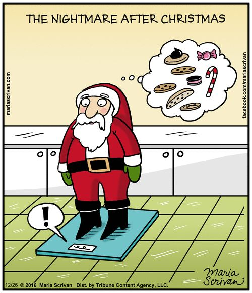 The Nightmare AFTER Christmas Santa Tips Scale From Too Many Goodies