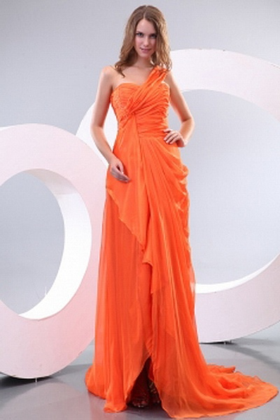 Chiffon Modern One-shoulder Prom Gowns wr2352 - http://www.weddingrobe.co.uk/chiffon-modern-one-shoulder-prom-gowns-wr2352.html - NECKLINE: One-shoulder. FABRIC: Chiffon. SLEEVE: Sleeveless. COLOR: Orange. SILHOUETTE: A-Line. - 148.59