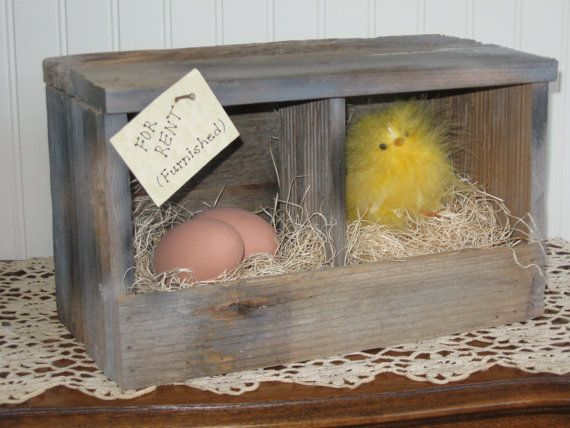 Barnwood Coop with Chick and Eggs by TheCountryTouch on Etsy