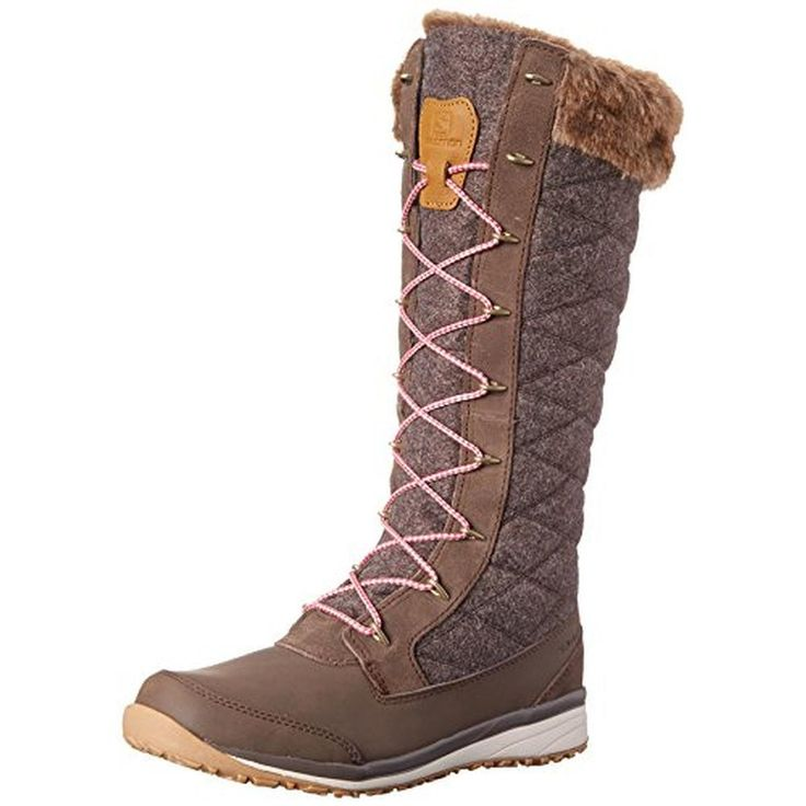 Salomon Womens Hime High Quilted Faux Fur Lined Winter Boots