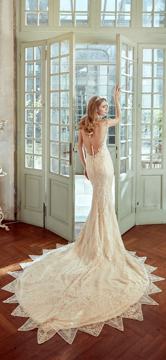 Nicole nude mermaid gown, with embroidered beading lace. Nicole 2017 Collection - Wedding dress