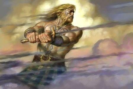 Fionn Mac Cumhaill (aka Finn McCool)  story involving our supposed ancestor Conn of the Hundred Battles