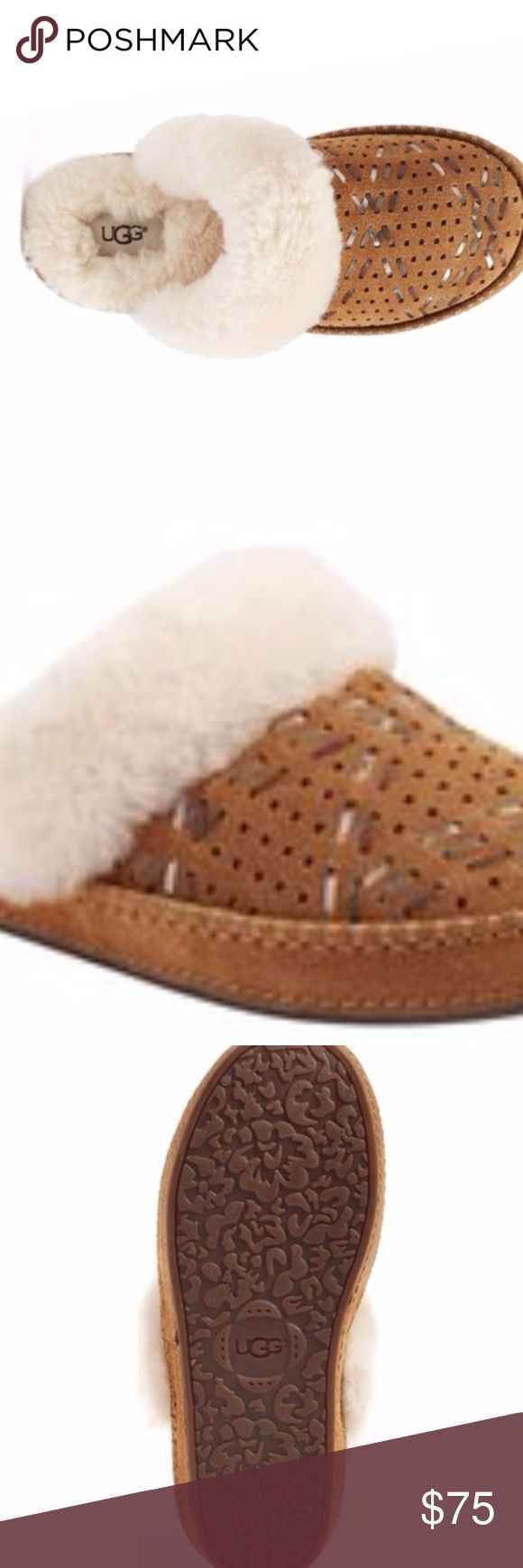 UGG Australia Moraene Slipper Shoes 10 Brand New Aira - Tehuano Genuine Shearling Slipper 7 New with box A fluffy, genuine shearling cuff and perforated vamp detailed with woven leather strips define a water-resistant suede slipper set on a decorative stitched sole. The lining is plush UGGpure (TM), a textile made entirely from wool but engineered to look and feel like shearling. Leather and genuine shearling upper/100% UGGpure wool lining/rubber sole UGG Shoes Slippers
