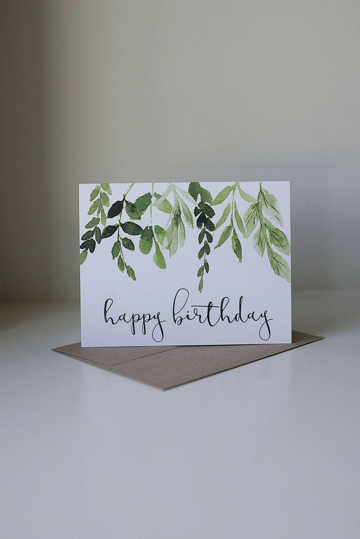 Happy Birthday Card, Ivy Birthday Card, Watercolor Card, Pretty Birthday Card, Simple Birthday Card, Neutral Birthday Card, Leaves and Stems