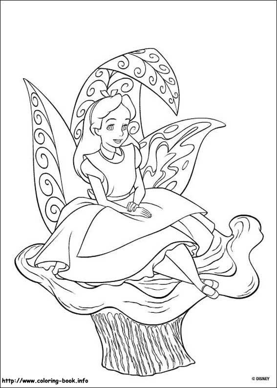 alice in wonderland coloring picture - Alice Wonderland Coloring Pages